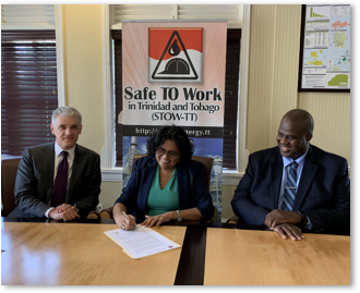 Dr. Dax Driver, Arlene Chow and Fitzroy Harewood signing the safe to work charter